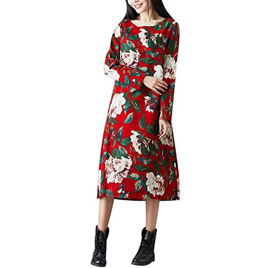 e8116b04f Womens Long Dresses Hot Sale,DEATU Ladies Folk-Custom Casual Floral Printed  Cotton and