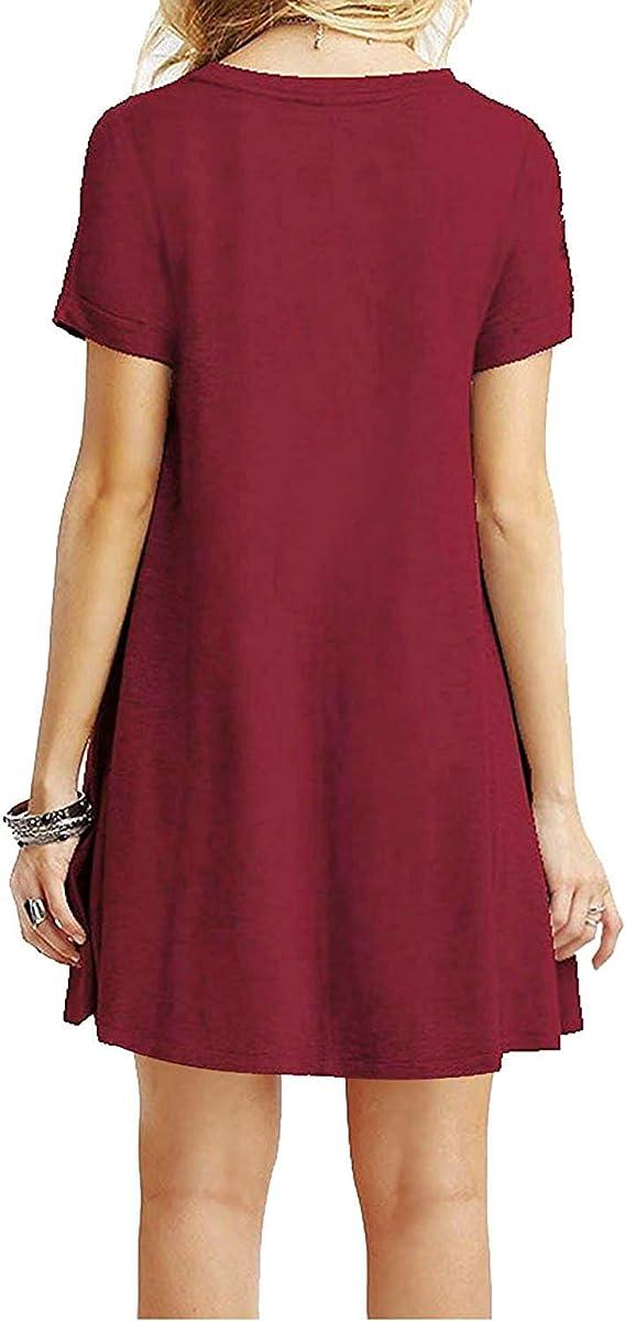 YOUCHAN Vestidos Mujer de Camiseta Suelto Casual Cuello Redondo ...