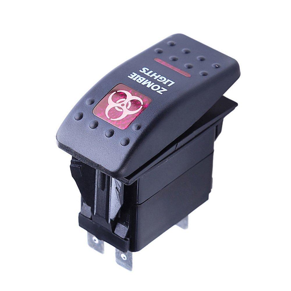 Mintice/™ 12V KFZ Rot LED Licht Beleuchtet Wippenschalter Kippschalter Auto Armaturenbrett Schalter Off Road Light