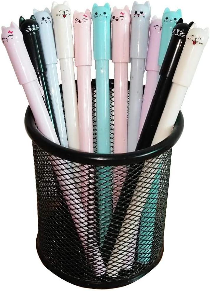 Sencoo Girl Cute Pens Kawaii Pen Cute Cat Pen 0.5 mm Gel Pens Black Ball Point Pens for School Office Supplies (12 cat)