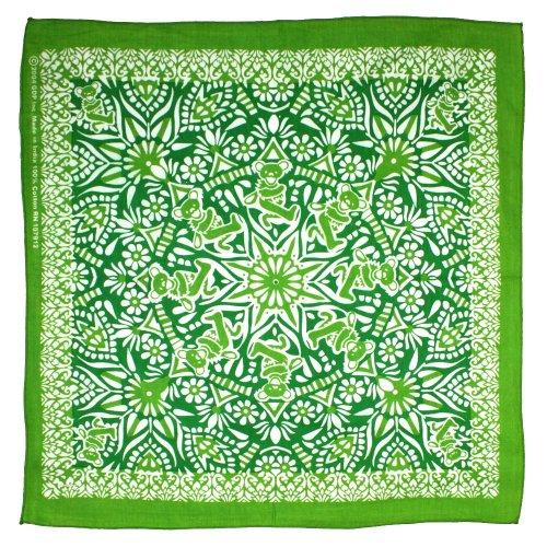 Green Bear Dancing - Sunshine Joy Grateful Dead Dancing Bear Mandala Bandana Green