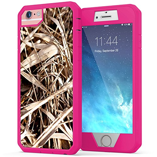 iPhone 6, iPhone 6s Camo Case, True Color Grass Camo [Camouflage Collection] Heavy Duty Hybrid + 9H Tempered Glass 360° Protection [True Armor Series] - Pink