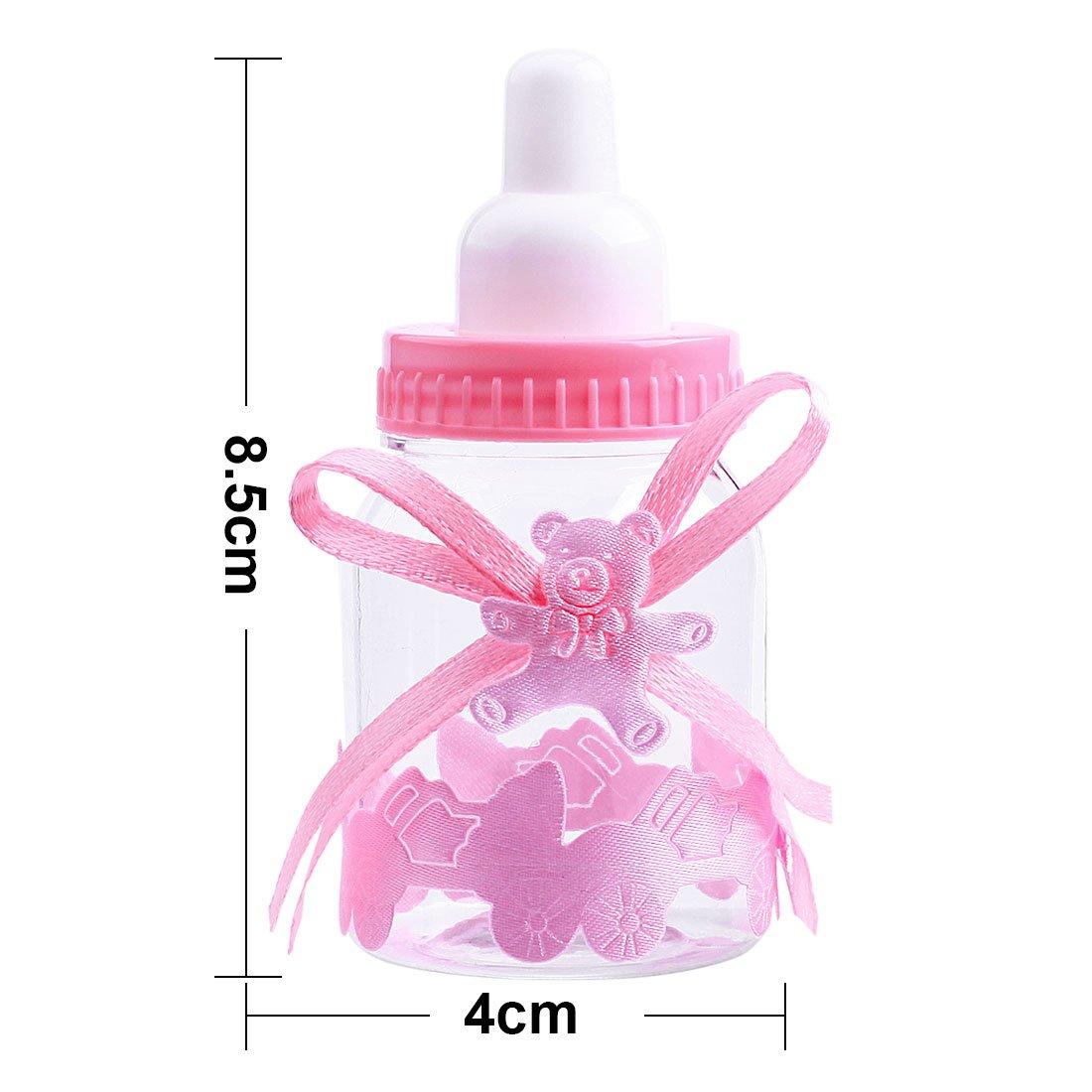 Gudotra 125 Packs 24pcs Caja Biberones Plastico Botella Dulces Rosa + 100pcs Tarjetas Blanco + 10 Metros Cuerda de Yute para Recuerdo de Bautizo Baby ...