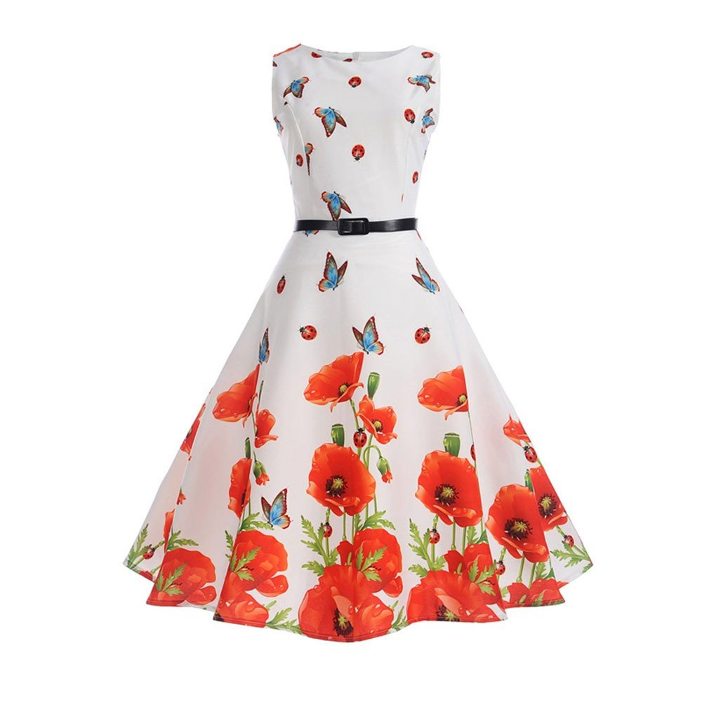 Clearance! 50S 60S Vintage Dresses Sleeveless for Women Floral Print Wedding Party Princess Dress+Belt for Summer