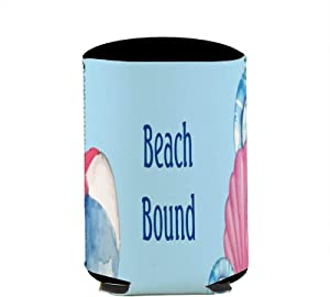 Beach Bound Custom Name Seashells Bucket Can Beverage Coolers Sleeve,Insulated Skinny Neoprene Beer Cans Cooler Sleeve Bags