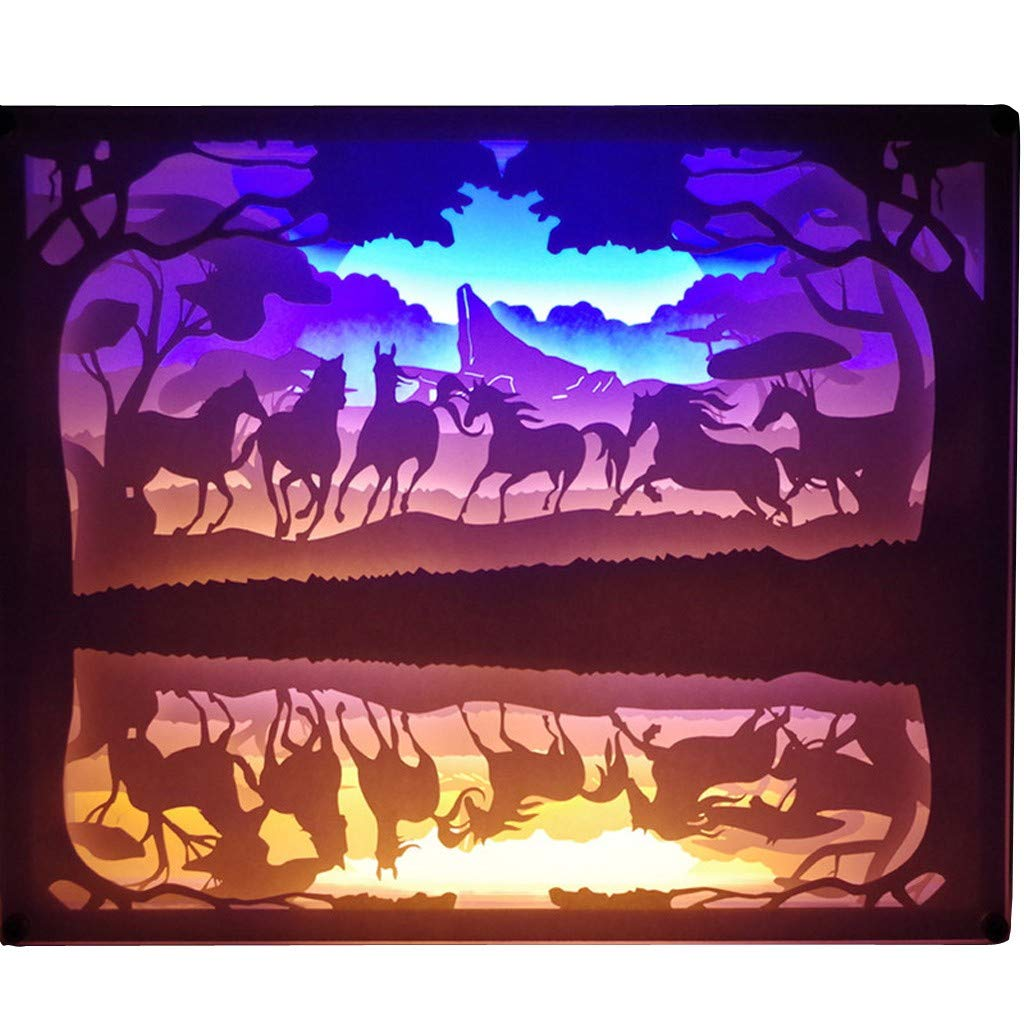 CreazyBee Creative Art Décor Lamp Light 3D Night Lamp Paper Pattern Painting LED Table Desk Color Shadow Box Frame,Suitable for Exhibition,Holiday Decoration,Home Decoration,Night Light (B) by CreazyBee