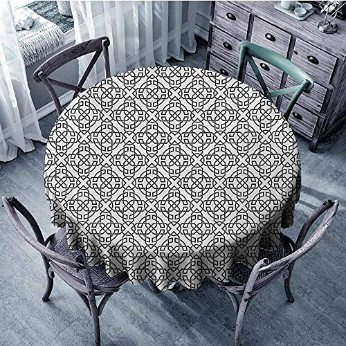 Sumilace Celtic Round Tablecloths Antique Art Monochrome Pattern with Intricate Knot Motifs Curved Twisted Lines Indoor Outdoor 63