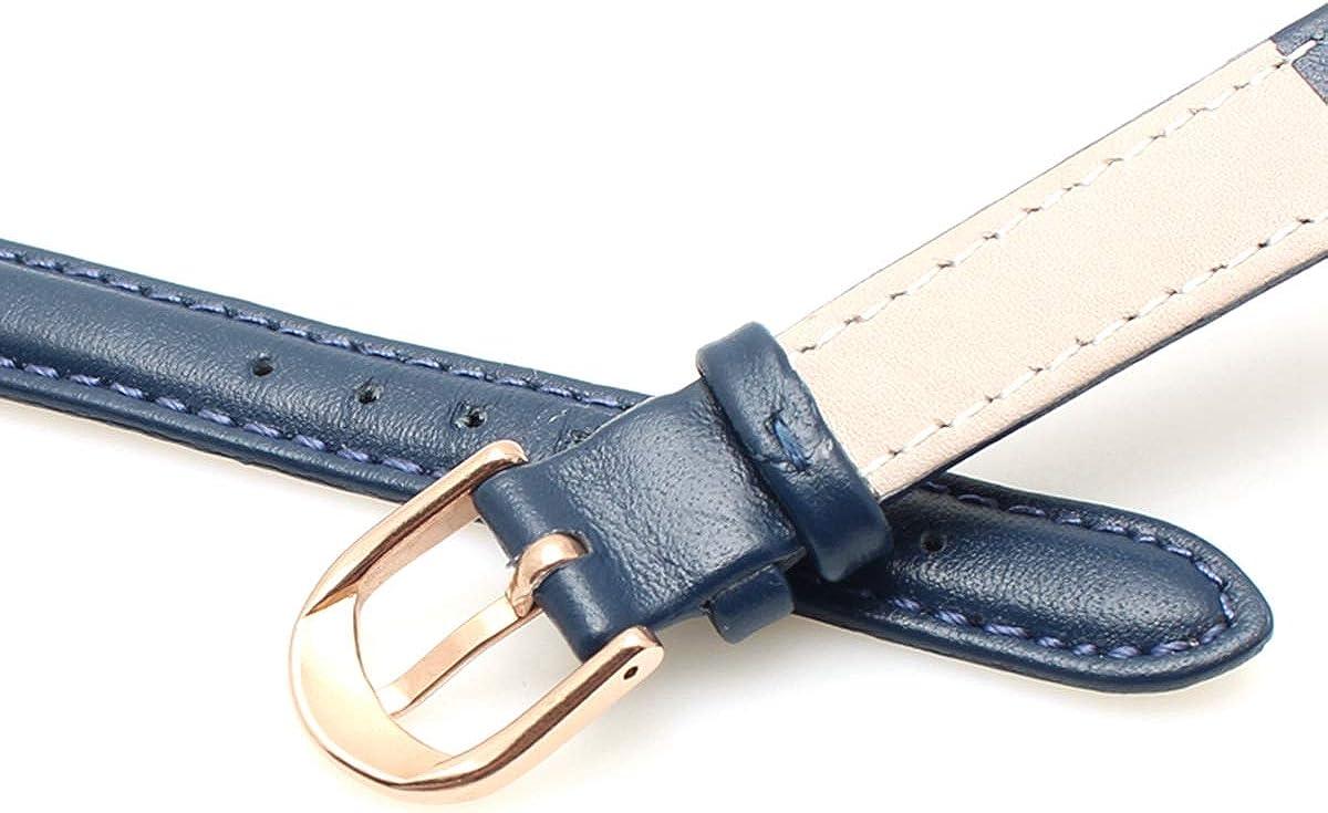 Bracelet en Cuir 14mm 16 mm 18 mm 20 mm Souple du Bracelet Montre Simple Bracelet de Montre Femmes Bracelet en Cuir Dark Blue Rose Bk