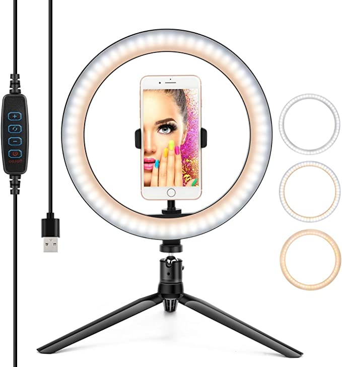 """10"""" Ring Light LED Desktop Selfie Ring Light USB LED Desk Camera Ringlight 3 Colors Light with Tripod Stand iPhone Cell Phone Holder and Remote Control for Photography Makeup Live Streaming   Amazon"""