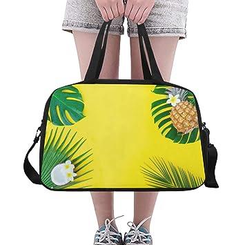 6e35b28051253 Sommer gelb Tripical Obst Ananas Palm benutzerdefinierte große Yoga Gym  Totes Fitness Handtaschen Reise Seesäcke mit