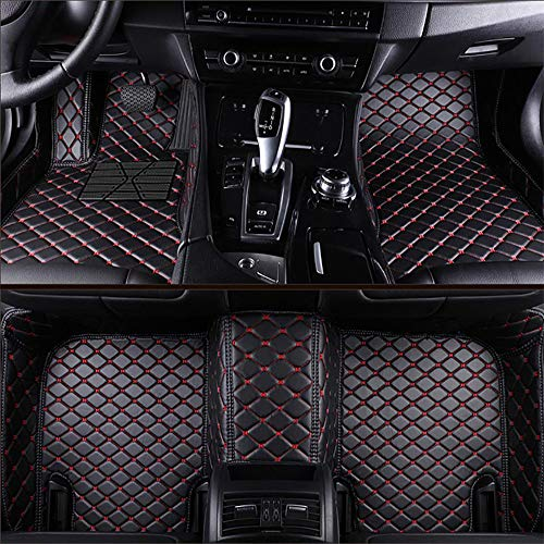 Custom Car Floor Mats for Audi A4 B8 Sedan 2009-2015 Laser Measured Faux Leather, VEVAE All Weather Full Coverage Waterproof Carpets XPE Car Liner (Black with Red Stitching)