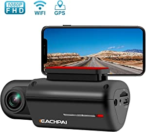 Dash Cam WiFi Dash Camera for Cars FHD 1080P Car Camera with GPS 150° Wide Angle Super Capacitor G Sensor Night Vision Loop Recording Parking Monitor Car DVR, EACHPAI