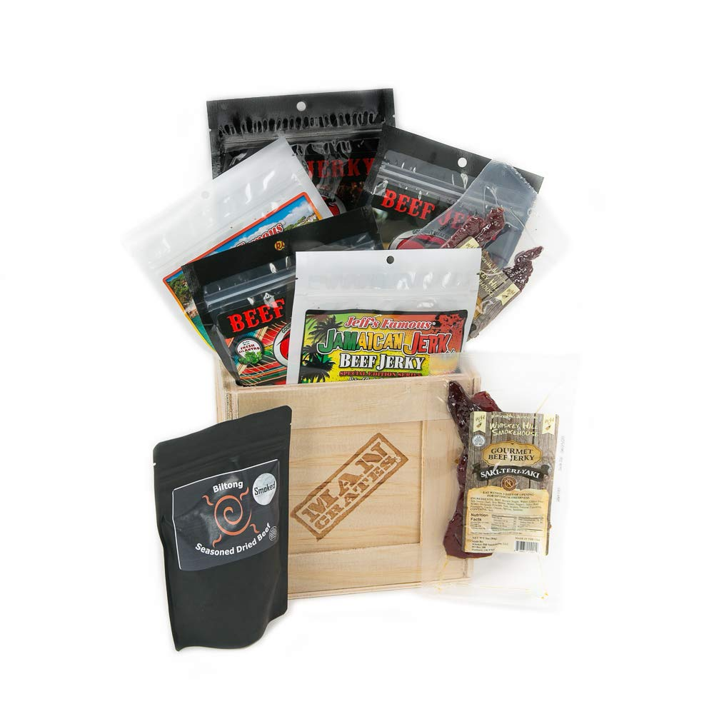 Man Crates World Tour Jerky Crate - Includes 8 Deliciously Rare Jerky Flavors From Five Continents - Including Sriracha Style, Saki-Teri-Yaki and More - Great Gifts for Men