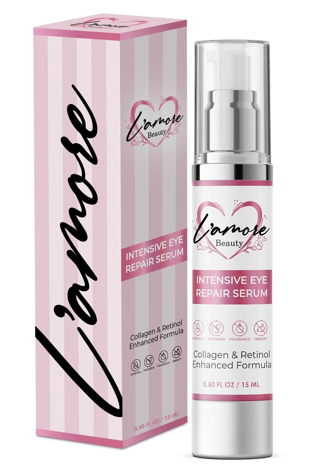 L'amore Beauty Intensive Eye Repair Serum (15 mL) Anti-Aging Collagen Booster with Retinol | Under-Eye Puffy Bags, Dark Spots, Discoloration, Fine Lines, Wrinkles | Cruelty-Free | Made in USA by L'amore Beauty