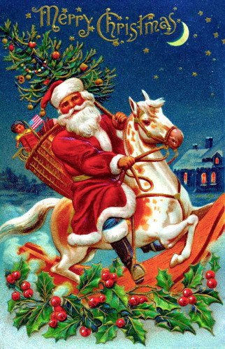 Vintage Christmas Art~Santa Claus Riding a Pinto Rocking Horse~Doll~Flag~Tree~6 pack NEW Matte Vintage Picture Large Blank Note Cards with (Vintage Santa Claus Doll)