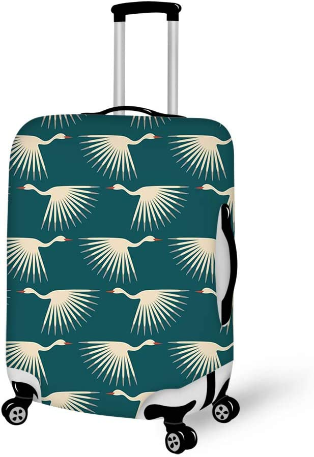 Luggage Cover Art White Crane Cranes Protective Travel Trunk Case Elastic Luggage Suitcase Protector Cover