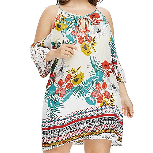 Dresses for Women Plus Size Casual Off-Shoulder Lace Sleeve Printed Front Collar Bow Dress Summer Beach Sun Dresses White