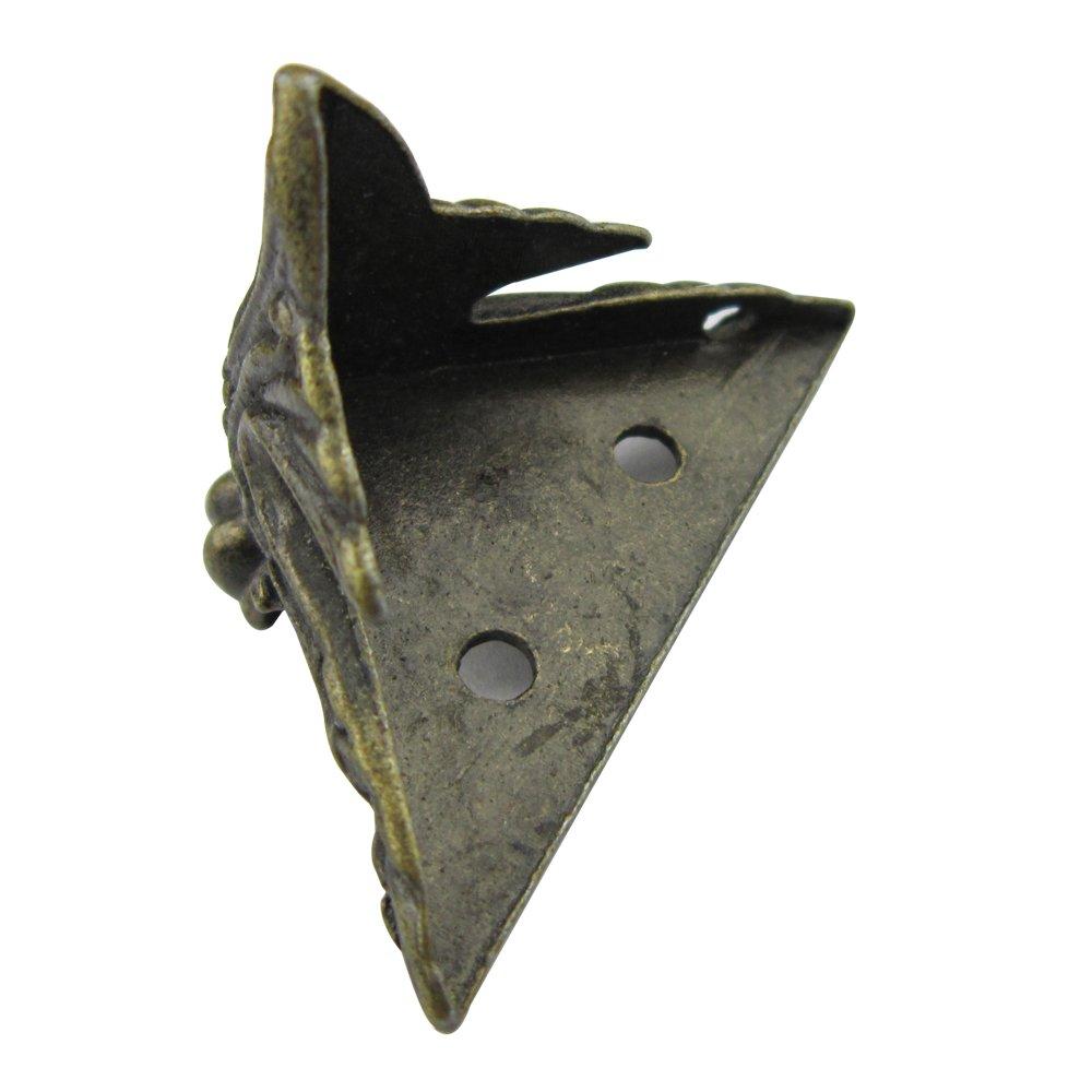 Paquete de 8 esquinas de bronce de aleación de zinc antigua esquina decorativa de muebles para estantes de caja de madera patas de tabla 40 * 30 mm con ...