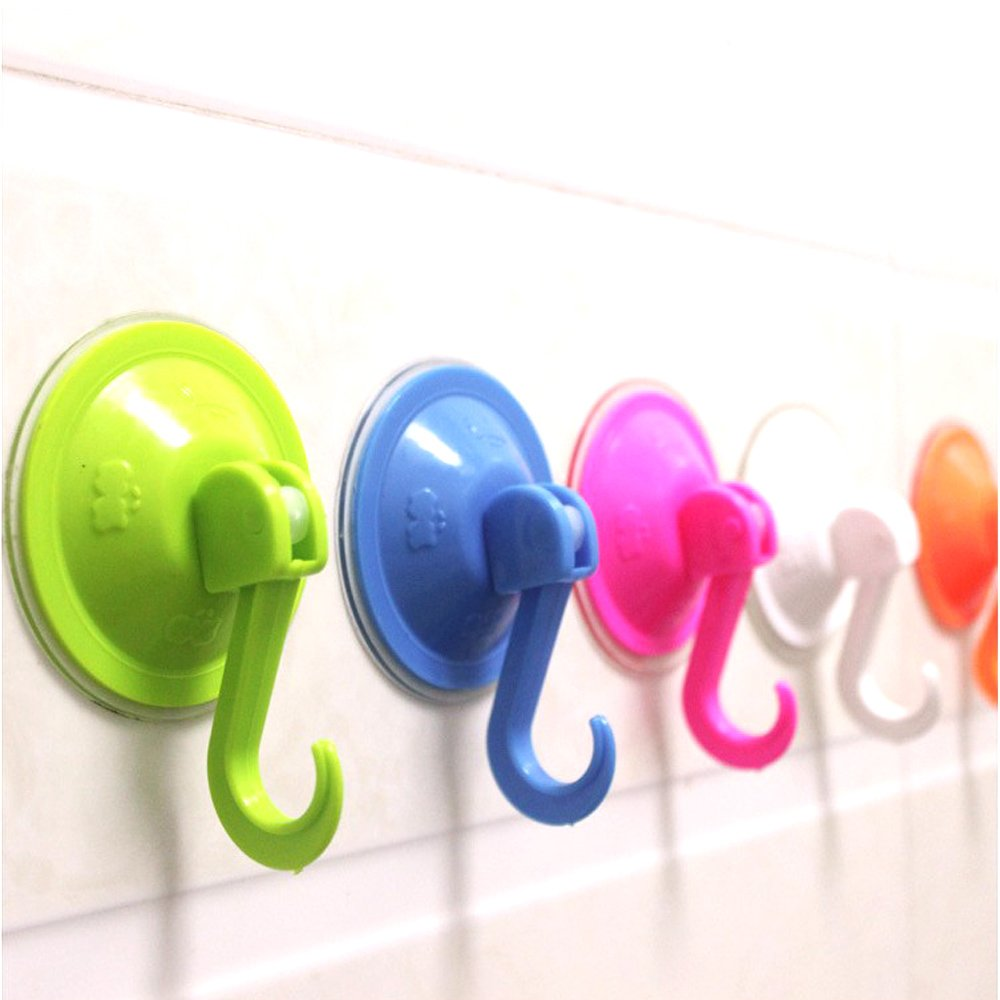 Suction Hook For Kitchen Bathroom, Plastic Wall Towel Holder Suction On Any Smooth Surface,Easy to Apply and Remove, Ultra Heavy Duty Strong Vacuum Traceless Coats Hanger For Key,Window ,Glass ,Door
