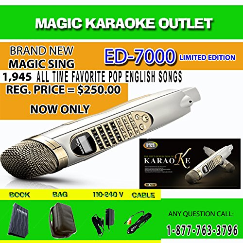 Magic Sing ED-7000 Karaoke Magic Mic Videoke Built-in 1,945 Songs with FM Module to WIRELESSLY Transmit Audio To FM Radio
