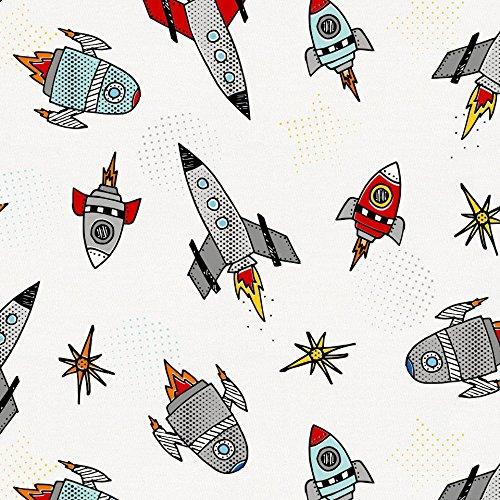 Carousel Designs Retro Rockets Fabric by The Yard - Organic 100% Cotton (Carousel Retro)