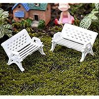 kingwin Miniatur Weiß Sitz Bench Garten Park Ornament Garten-Requisiten, plastik, weiß, 3cm