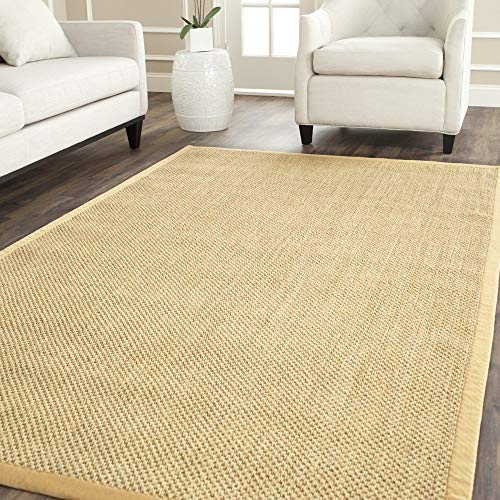 (Safavieh Natural Fiber Collection NF443A Tiger Eye Maize and Wheat Sisal Square Area Rug (4' Square) (Renewed))