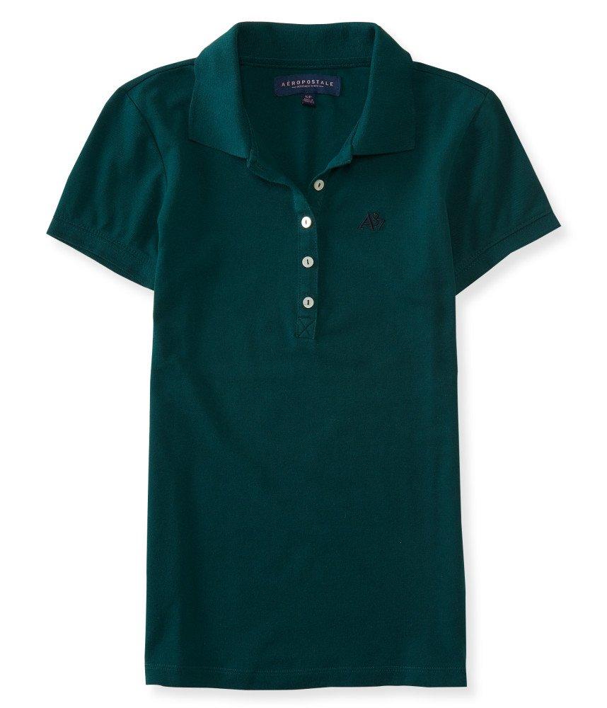 Aeropostale Women's Polo Shirt X-Large Dark Green w Navy 381