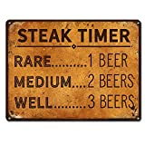 "patio decor ideas Steak Timer - Rare 1 Beer, Medium 2 beers, Well Done 3 Beers ~ Funny Beer Signs ~ 9"" x 12"" Metal Sign ~ Man Cave, Brewery, Bar, Decor & Gifts for Beer Lovers, Dads & Boyfriends who BBQ (RK3018_9x12)"