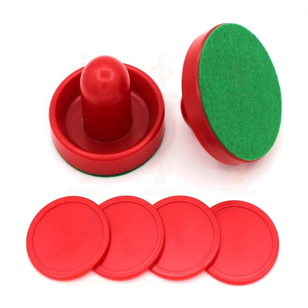 ShiningLove 2pcs Air Hockey Table Pusher and 4pcs Red Pucks Replacement Table Game Air Hockey Pucks Accessory 76mm Black