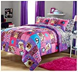 Princess Kitty Your Zone Puppy Purple Pink Comforter & (2) -Pillow Shams REVERSIBLE to Peace Signs, Hearts, Love BFF Scripts (Sheets NOT INCLUDED) (3pc FULL/QUEEN SIZE (86'' x 86)