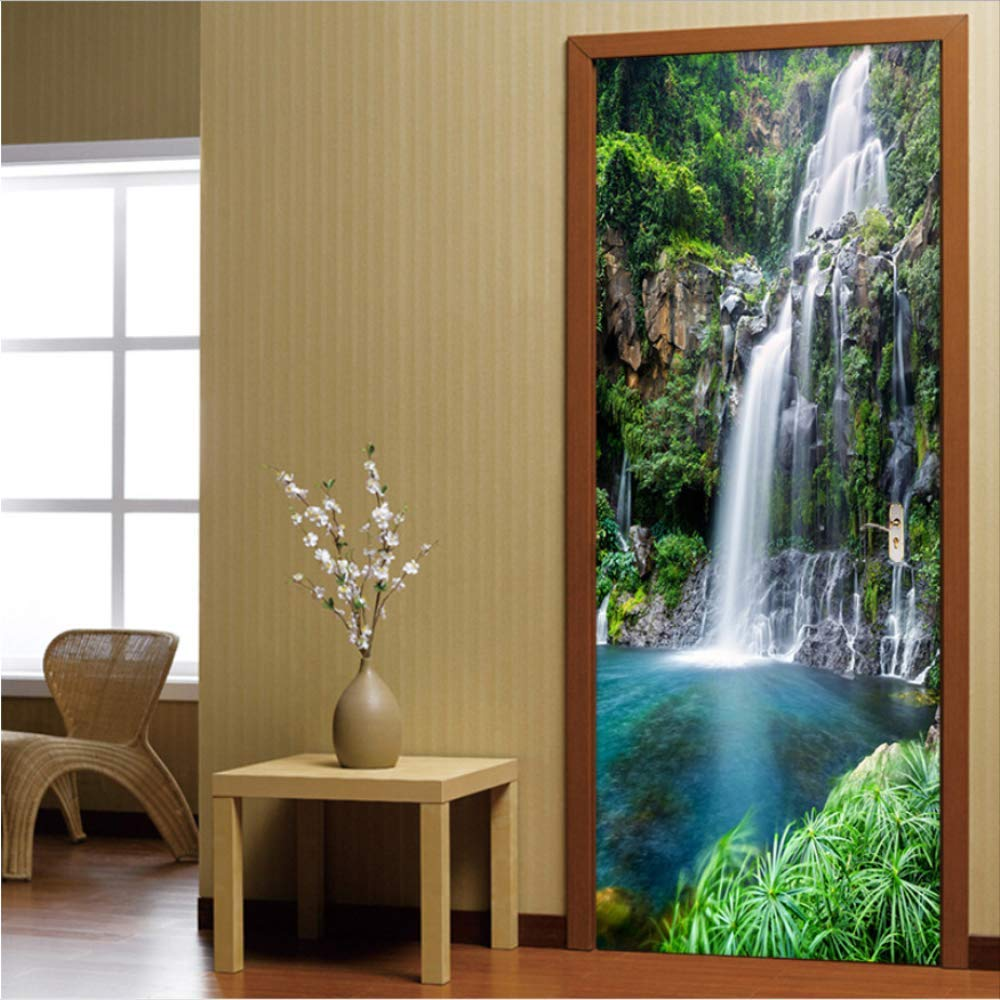 Set 90x200cm zhkn Autocollant De Porte 3D Style Chinois Porte Cascades Paysage Photo Papier Chambre Chambre Home Decor Imperm/éable PVC Auto-Adh/ésif 2pcs