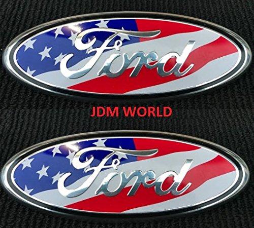 2 pcs SET 2005-2014 Ford F150 USA UNITED STATES FLAG Oval 9