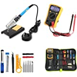 15Pcs Soldering Iron Kit Multifunction Adjustable Temperature Welding Tool Set for Various Repair with Case 60 W