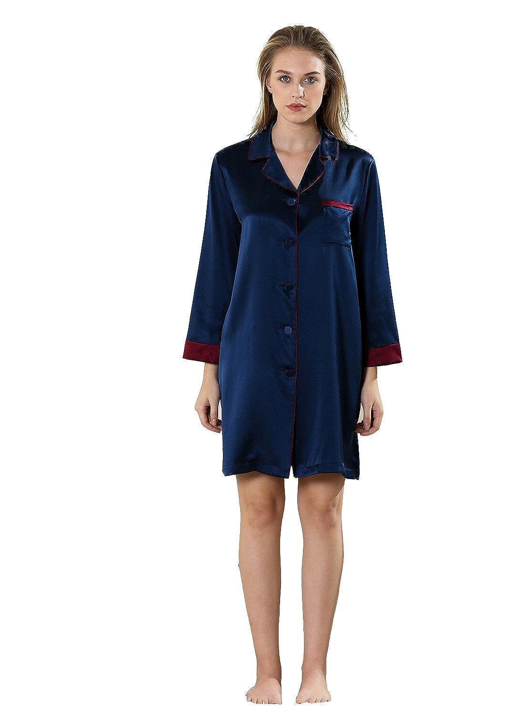 Vividmoo Womens 19 Momme Satin H Shape 100% Charmeuse Mulberry Silk Nightwear Pijama Robe at Amazon Womens Clothing store: