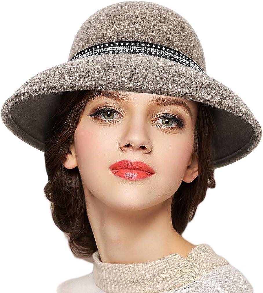 GEMVIE Wool Cloche Hat...