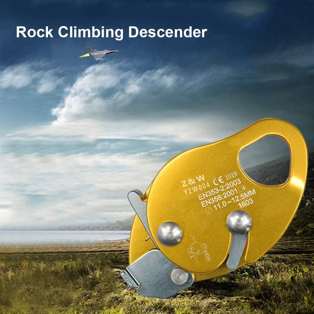 Alomejor Climbing Descender Self-Braking Stop Climbing Rope Grab Stopper Peak Gear for Mountaineering