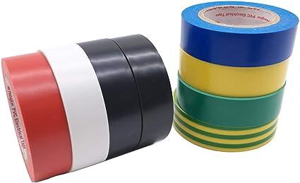 Cinta aislante el/éctrica varios colores SACONELL 8 unidades, 0,75 pulgadas, 18 m