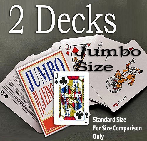 2 Decks of Plastic Coated Jumbo Sized and Jumbo Print Playing Cards