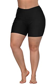 421fe170c1 ALove Women Plus Size Swim Shorts High Waist Board Shorts Stretchy Swimsuit  Bottoms