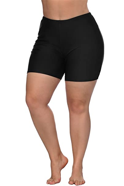 861dc7107c ALove Plus Size Swim Shorts Swimsuits Bottoms Boyleg Beach Board Shorts  Black 0X