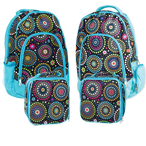 Reinforced Water Resistant School Backpack and Insulated Lunch Bag 2 Pack- Blue Vibrant Medallion