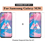 Go Hooked Premium Tempered Glass Screen Protector for Samsung Galaxy M30 (Set of 2)