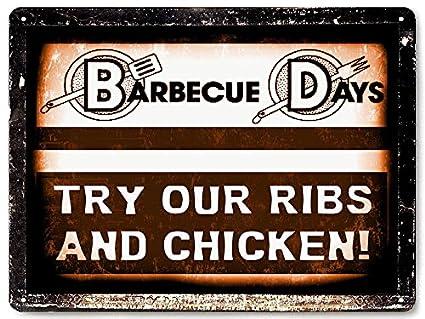 Señal de carnicero Shop carne barbacoa barbacoa carne restaurante Diner cierre hermético/diseño retro de