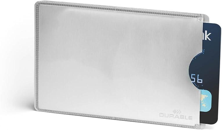 Durable 890023 Estuche para tarjetas de crédito con protección Rfid, bolsa de 10 estuches para tarjetas, plateado: Amazon.es: Oficina y papelería