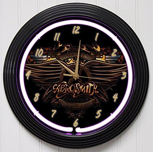 """AEROSMITH 15"""" PURPLE NEON ROCK N ROLL WALL CLOCK """"K1"""""""
