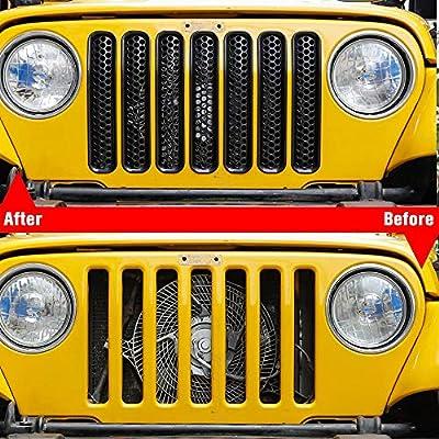 RT-TCZ Black Honeycomb Mesh Front Grill Inserts Kit for 1997-2006 Jeep Wrangler TJ & Unlimited - (7PCS): Automotive