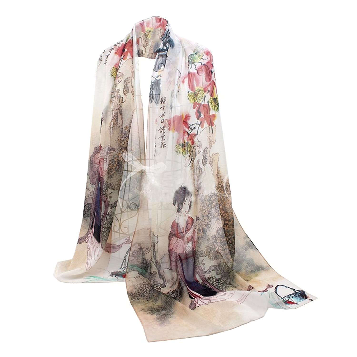 QYQS Women's 100% Silk Exotic Design Chinoiserie Painting Scarf Wrap Shawl