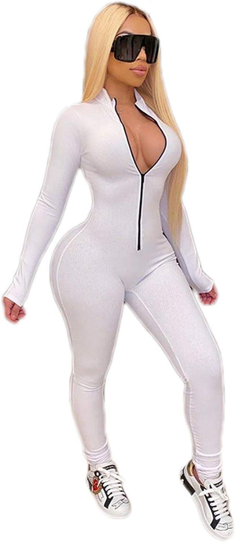 AmbabeOnline Women's Sexy Bodycon Long Sleeve Zipper Jumpsuit Long Rompers Bodysuit Onesies Fall Outfits Clubwear