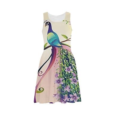 9e6645d3457 D-Story Custom Dress Peacock Women Sleeveless Sundress at Amazon ...